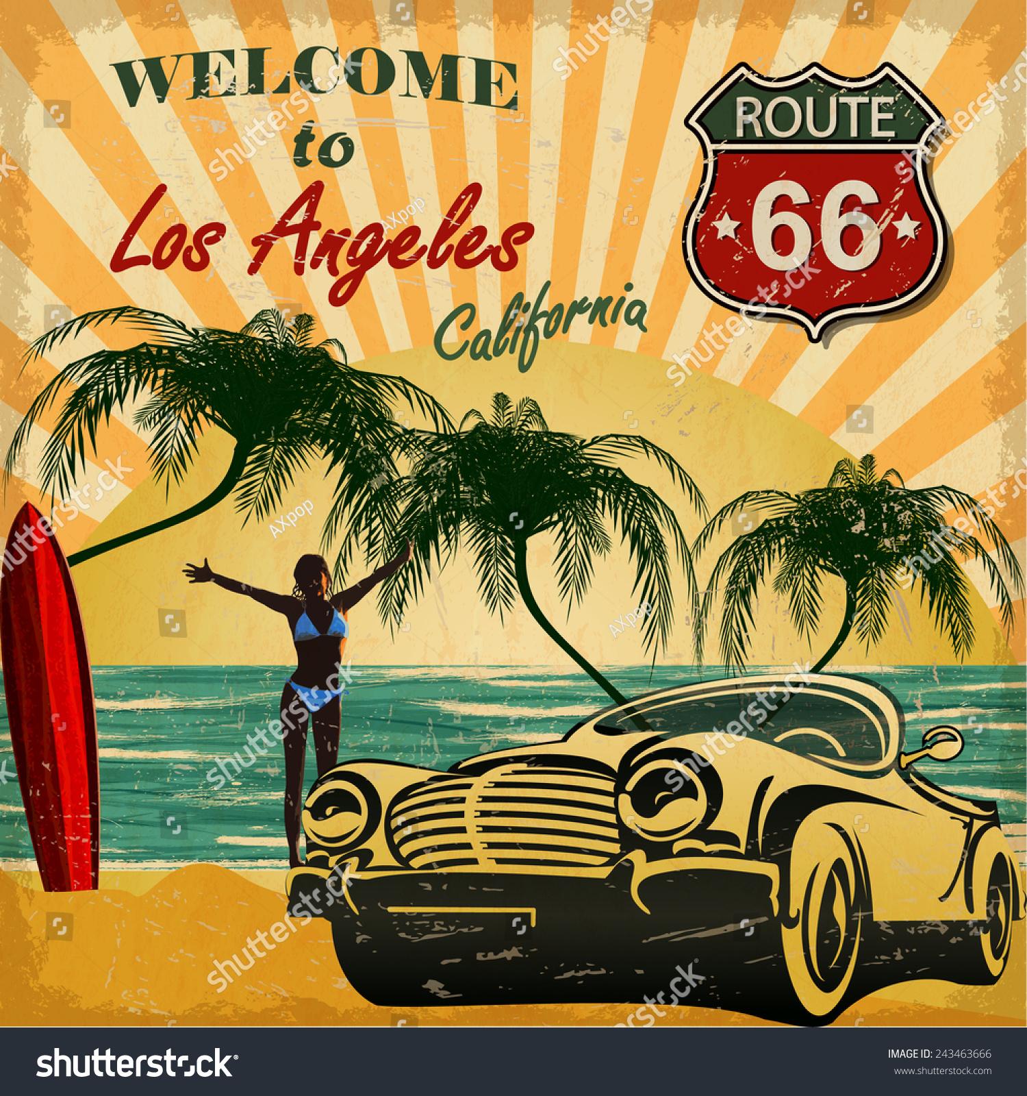 Welcome Los Angeles California Retro Poster Stock Vector - Los angeles posters vintage