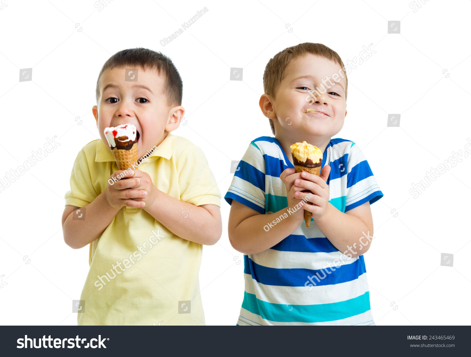 Funny Children Kids Little Boys Eat 写真素材 243465469 ...