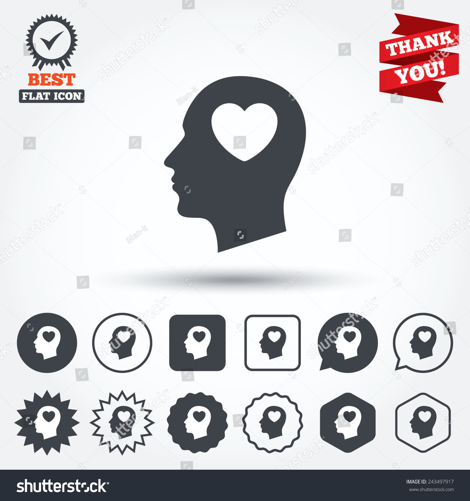 Head heart sign icon male human stock vector 243497917 shutterstock male human head in love symbol circle star buycottarizona