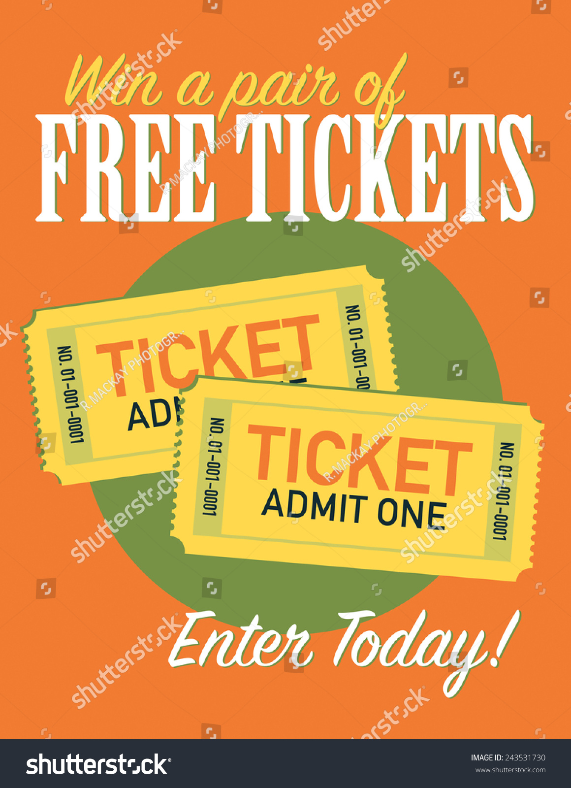 Win Free Pair Tickets Entry Poster Stock Vector (Royalty