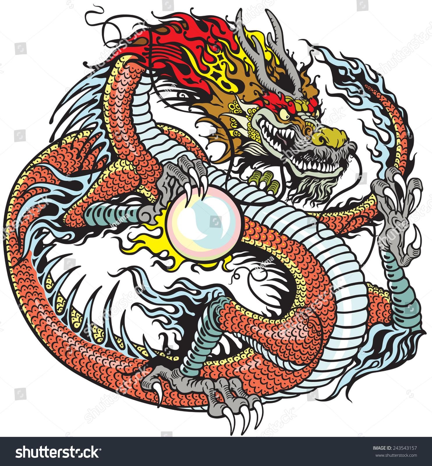 Asian Tattoos Illustrations: Chinese Dragon Holding Pearl Tattoo Illustration Stock