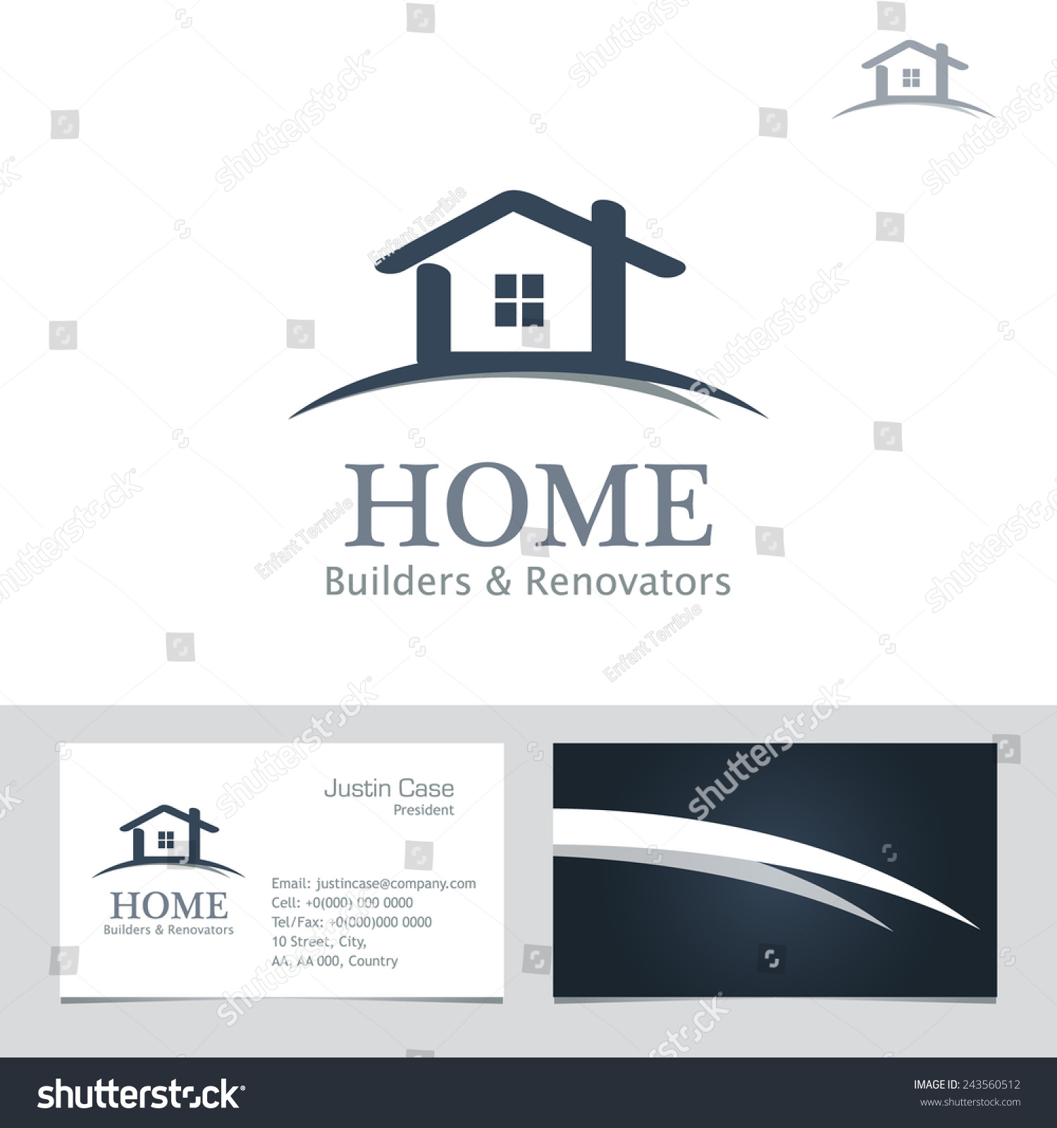 Real estate business sign business card vector template for Home builder company