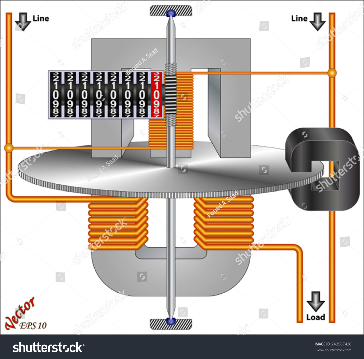Single Phase Induction Kilowatt Hour Energy Stock Vector 243567436