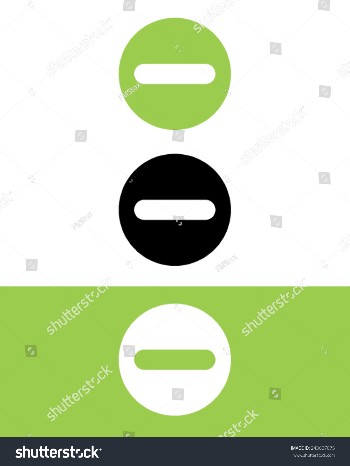 Vector Subtraction Symbol Set Color Black Stock Vector 243607075 ...