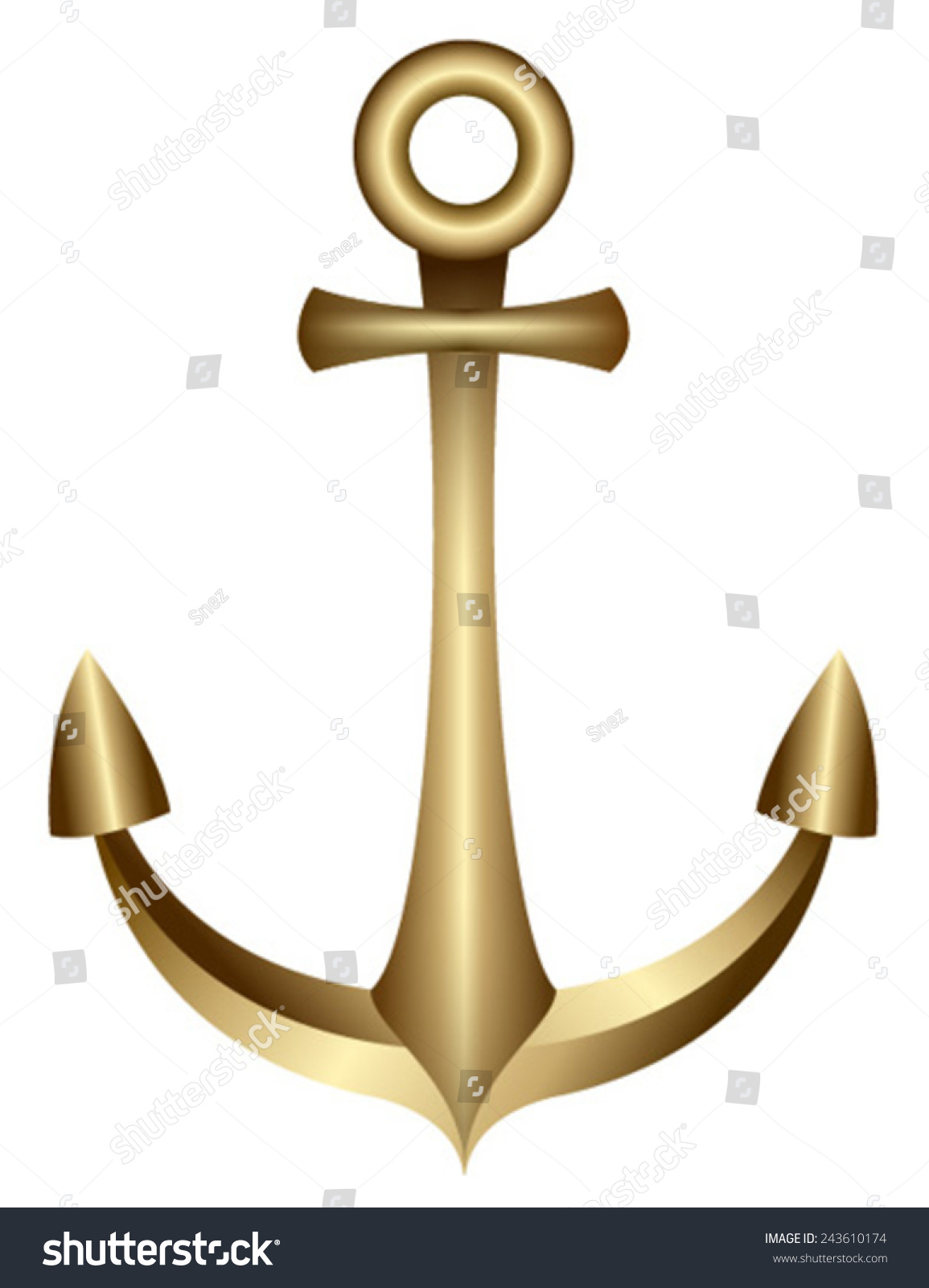Gold Shiny Anchor Stock Vector 243610174