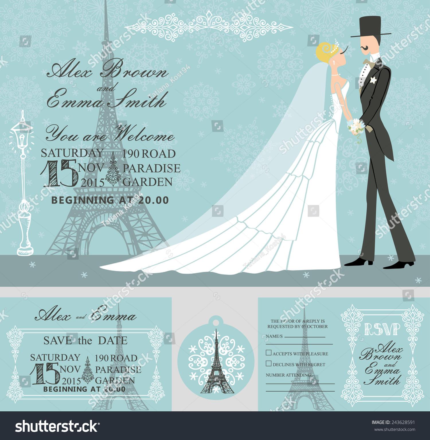 winter wedding template setretro bride groom stock vector