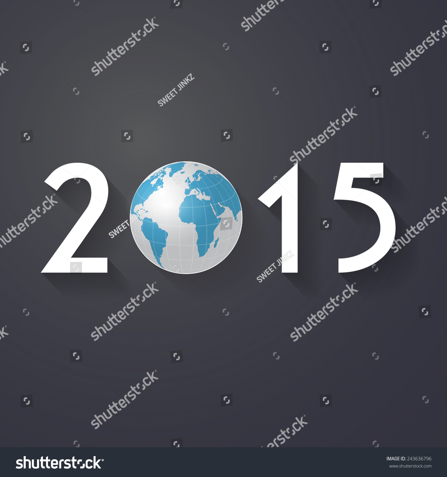 Vector modern simple happy new year vectores en stock 243636796 vector modern simple happy new year 2015 and 3d world map wallpaper with a long shadow gumiabroncs Gallery