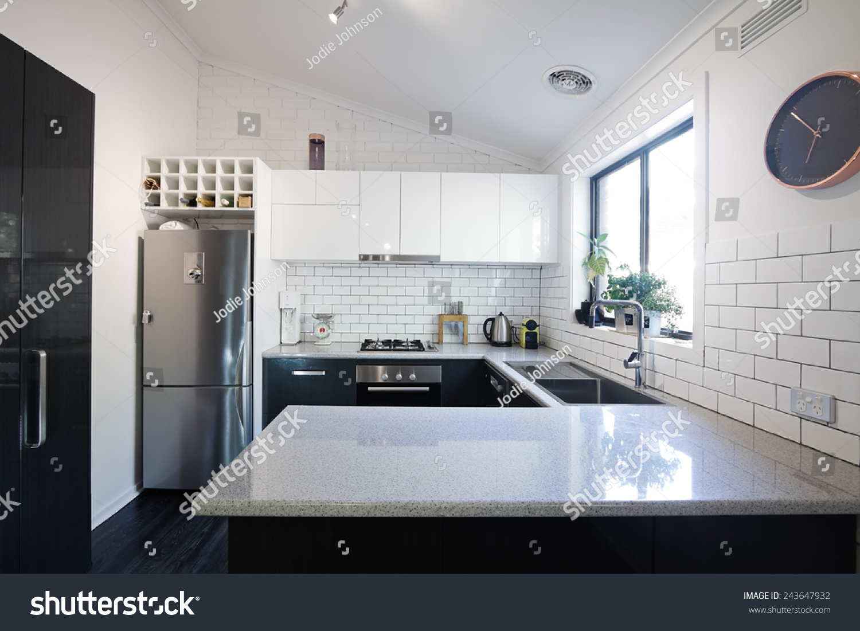 New Black White Contemporary Kitchen Subway Stock Photo