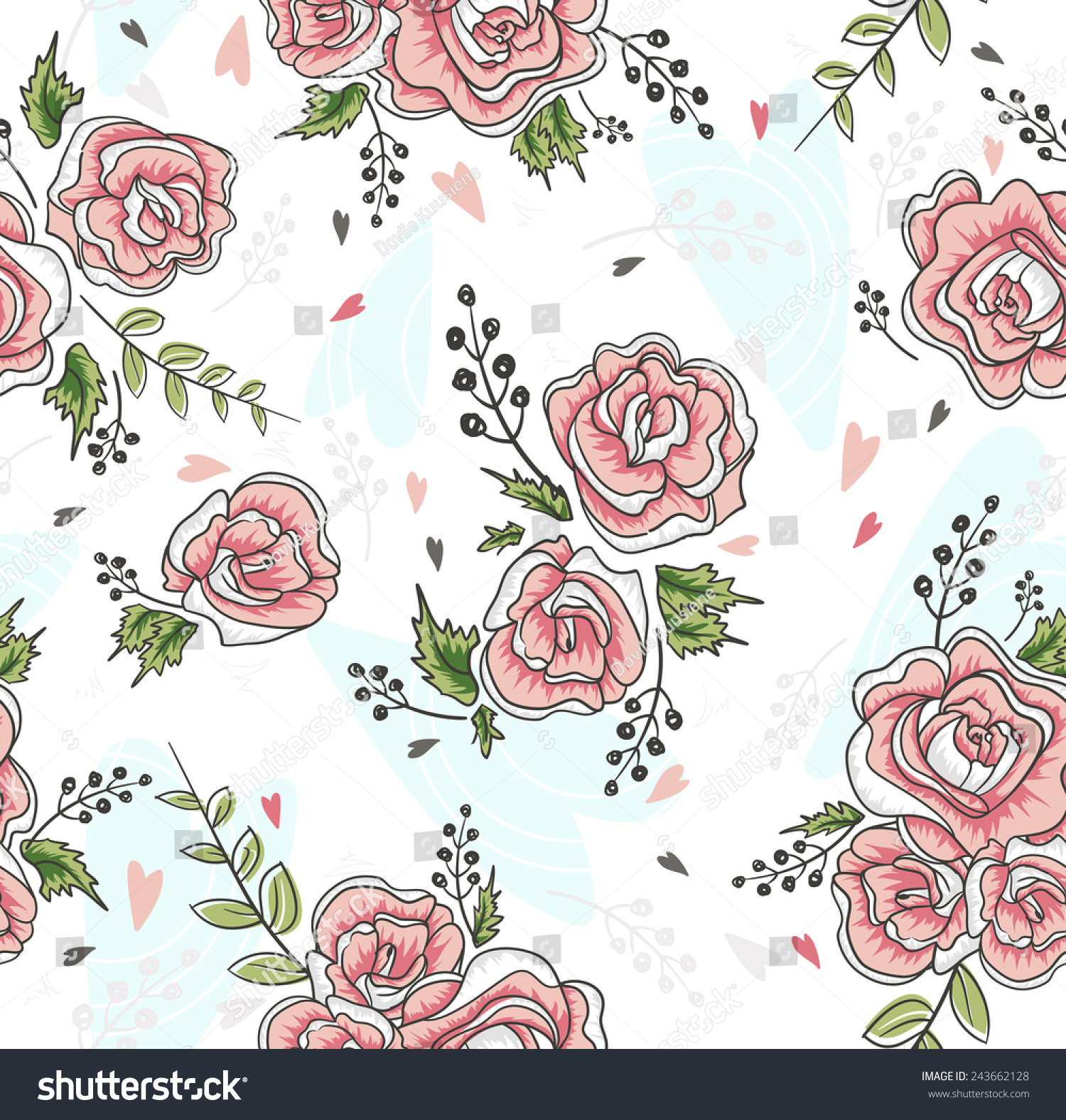 Cute Seamless Vintage Rose Pattern Background Stock Vector ...