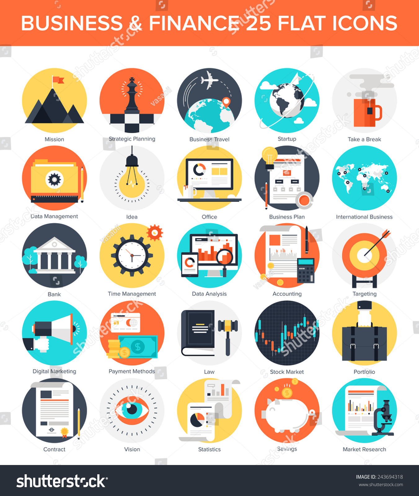 Business Finance: Vector Collection Colorful Flat Business Finance Stock