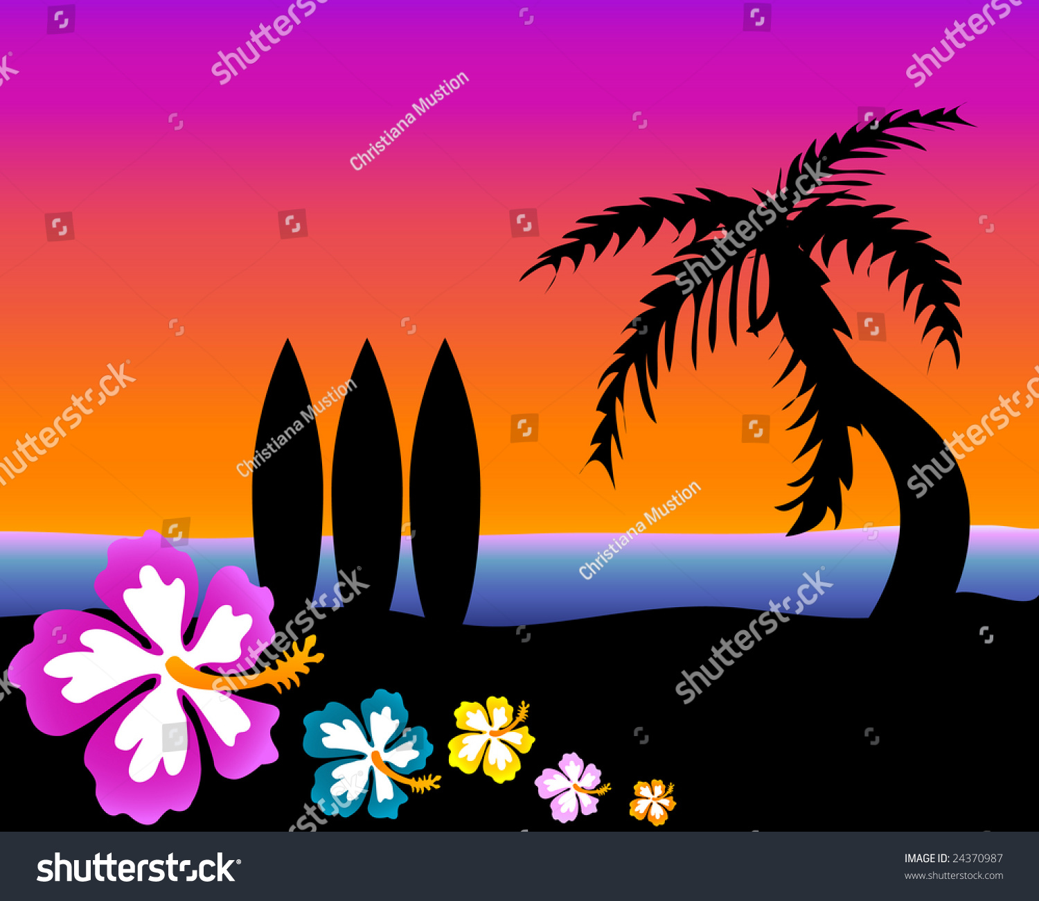 Tropical Surf Scene At Sunset Stock Photo 24370987