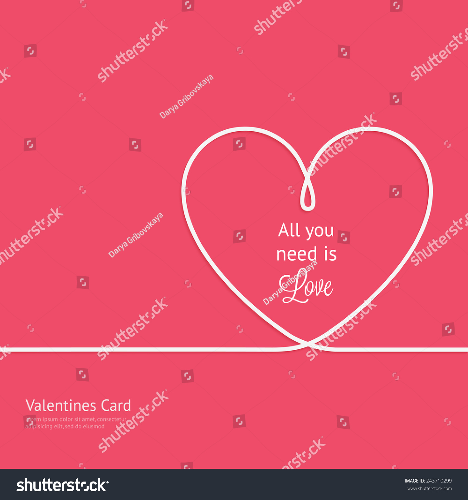 Valentines Card Line Heart All You Stock Vector 243710299 ...