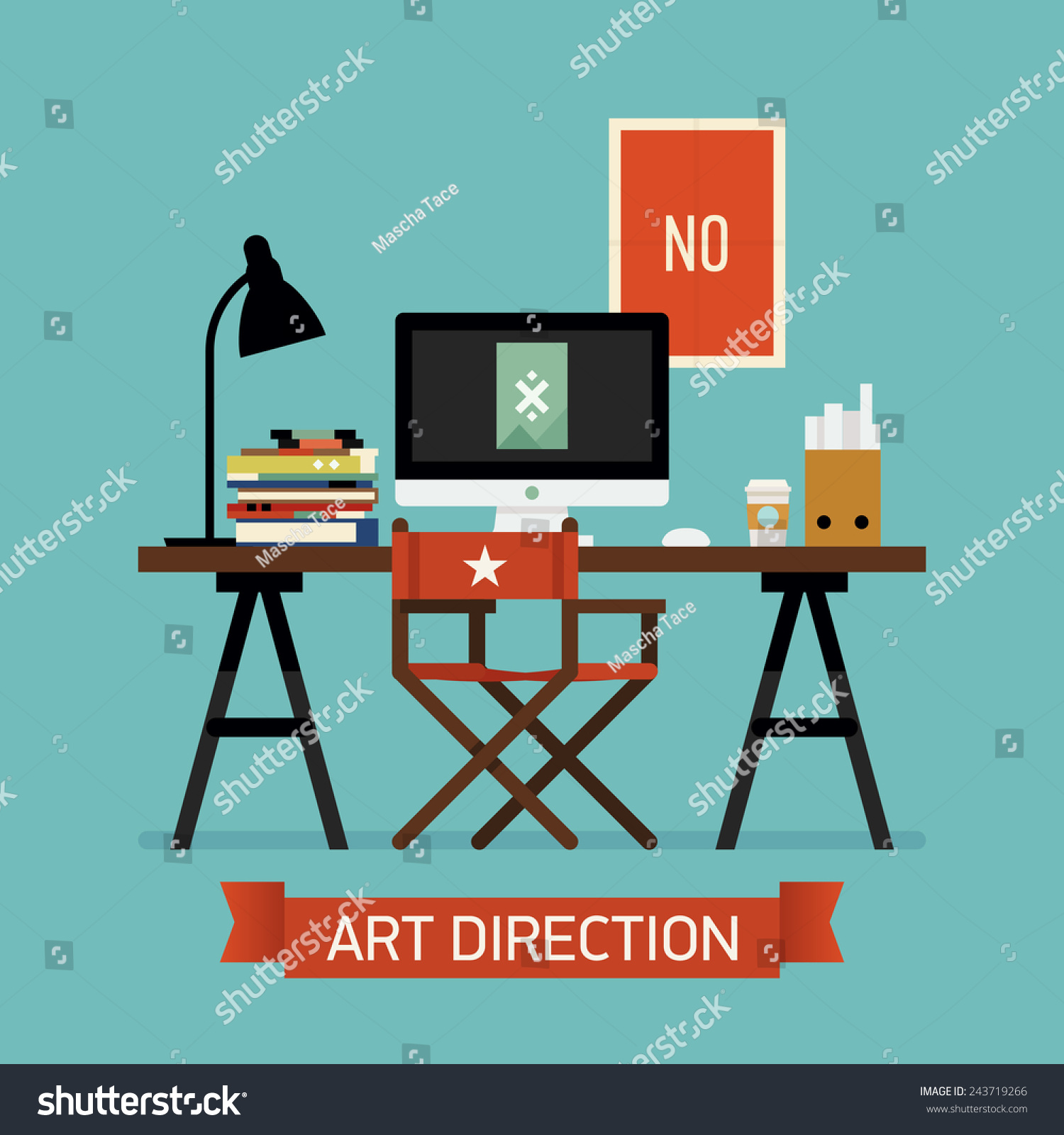 Vector modern flat design creative illustration stock for Table flat design