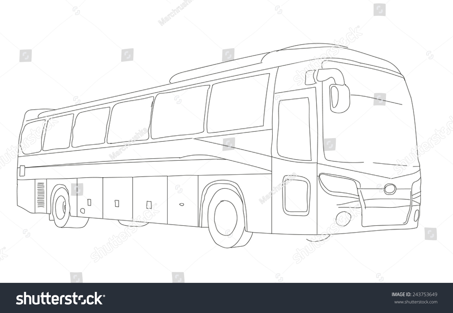 Bus sketch pencil drawing style