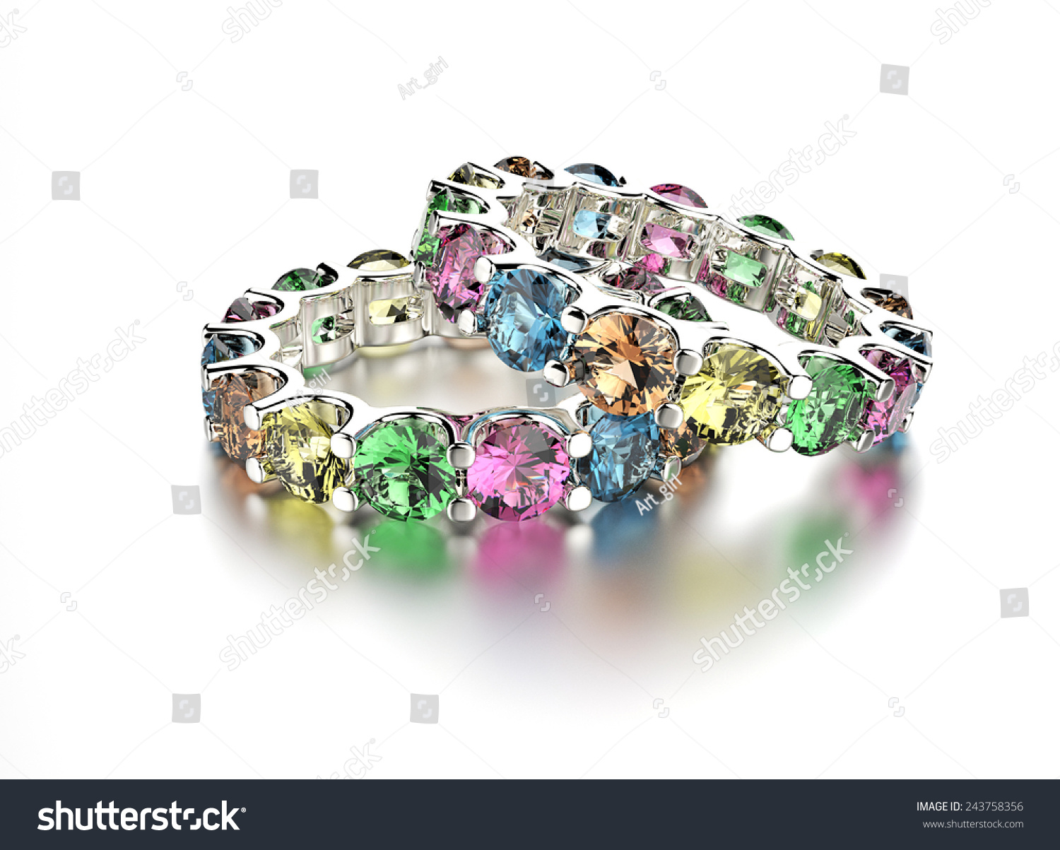 Ring Different Color Diamond Jewelry Background Stock Illustration ...