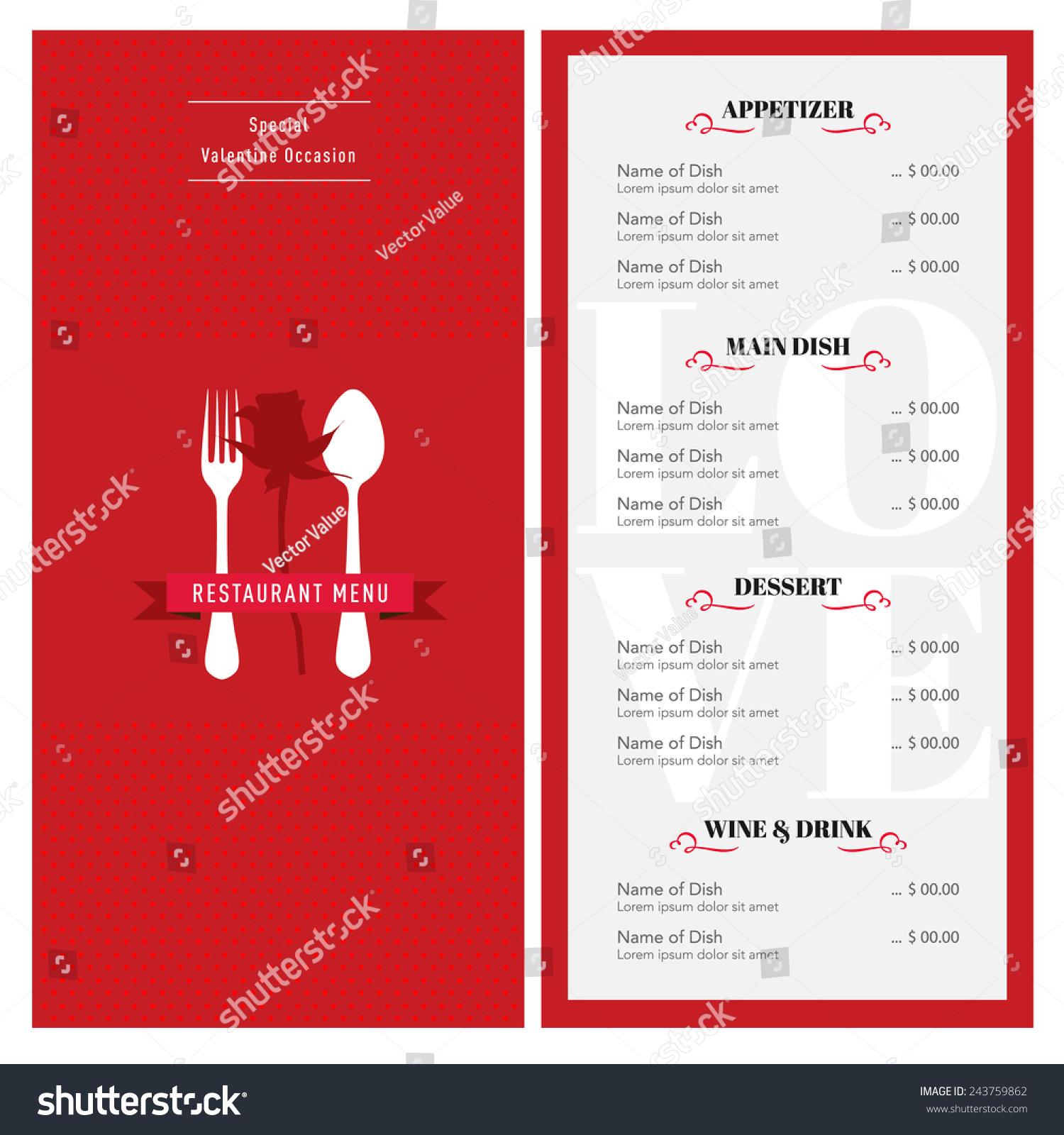 valentine menu design template cafe restaurant stock vector royalty