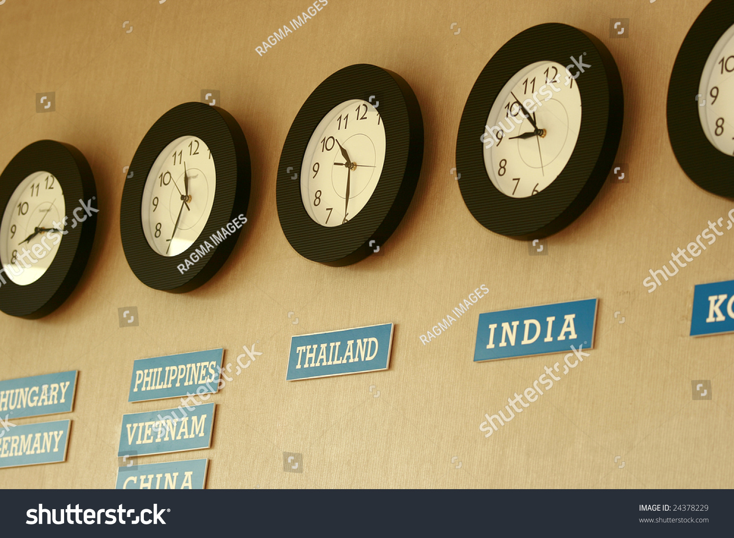 Clocks On Wall Time Zone Different Stock Photo Edit Now 24378229