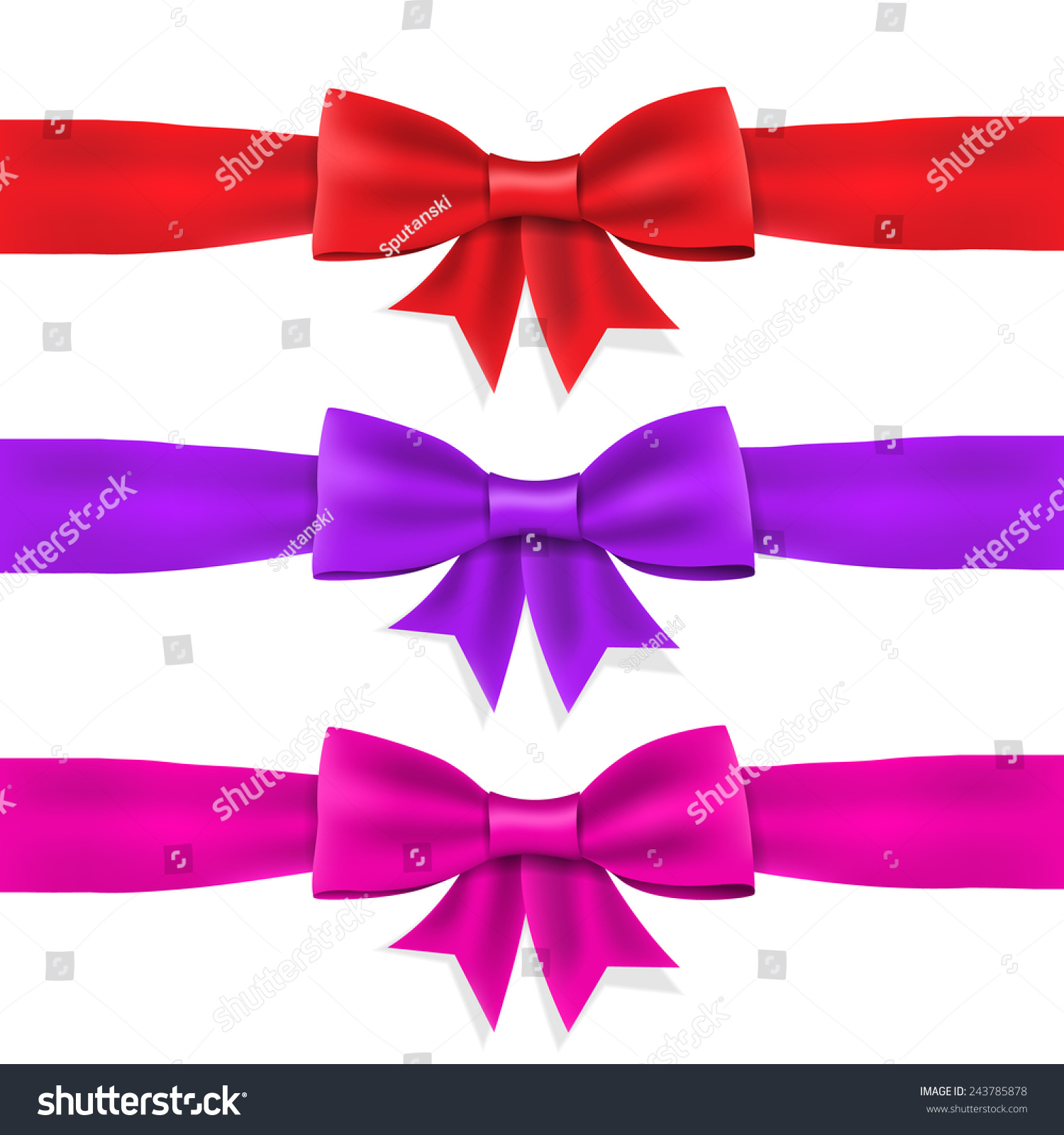 Set Red Violet Pink Satin Ribbon With Bow On White ...