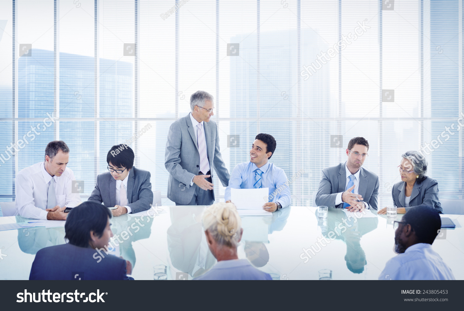 business people corporate meeting presentation communication stock, Powerpoint templates