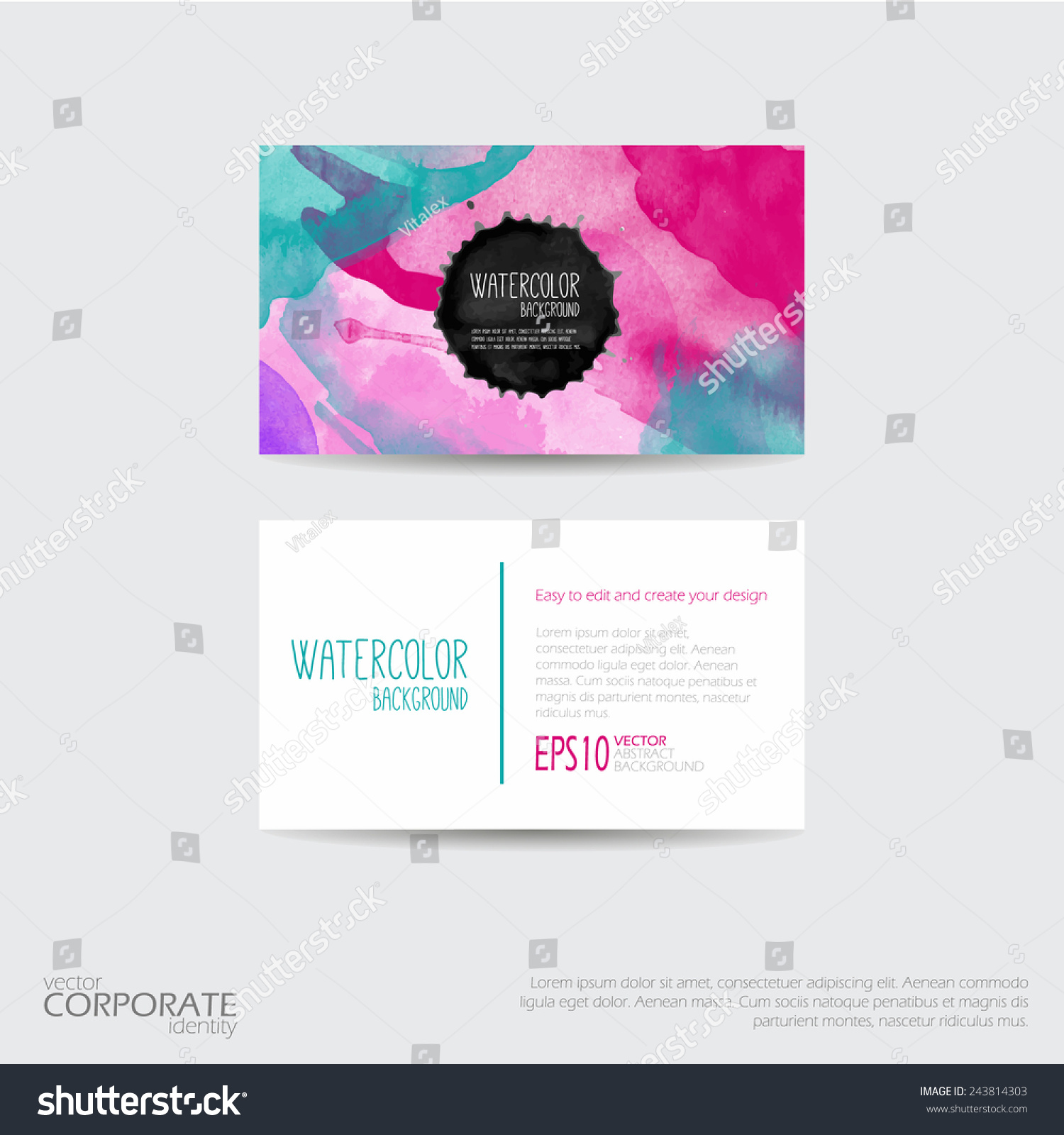 bright watercolor background business card template stock vector