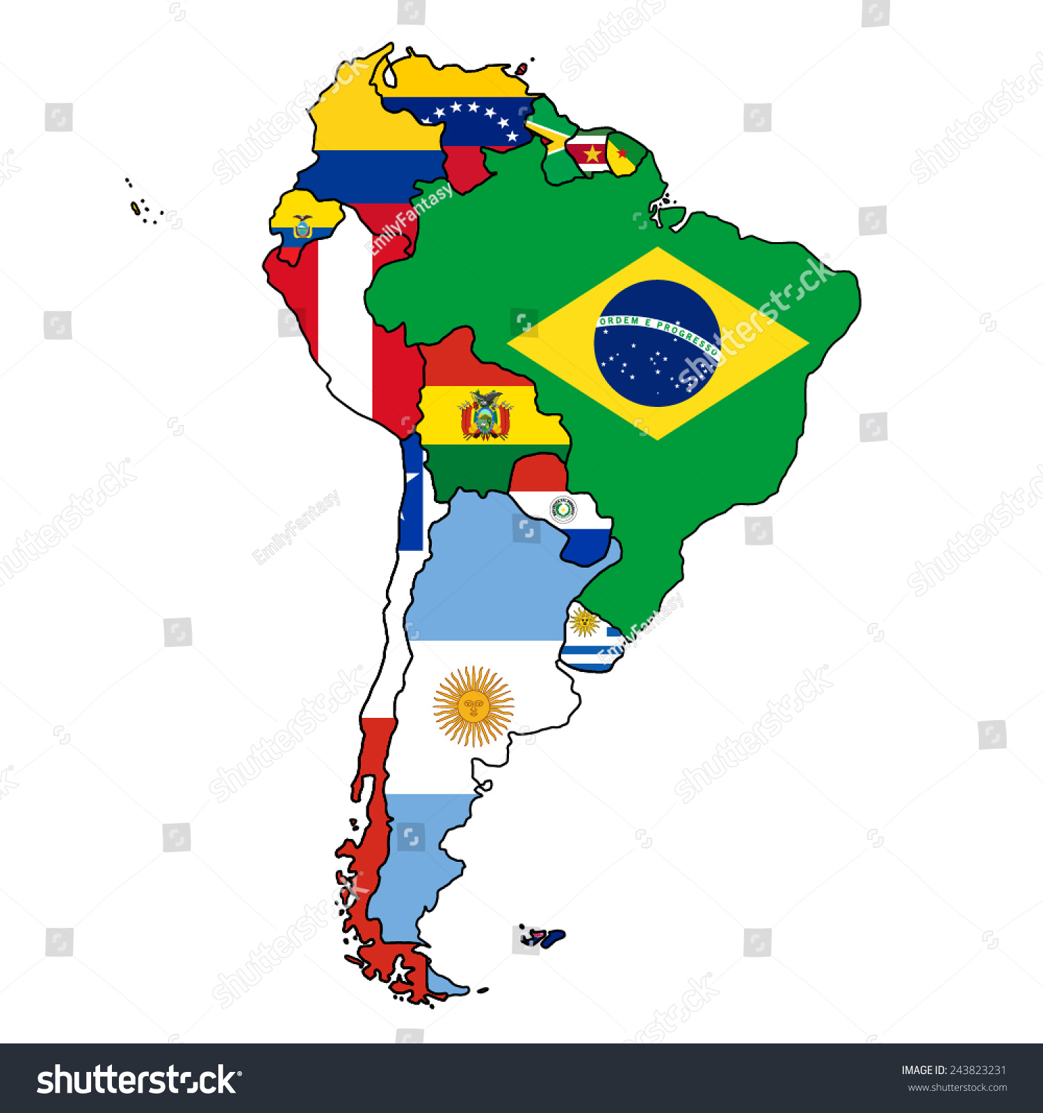 south america flag map all countries stock vector 243823231