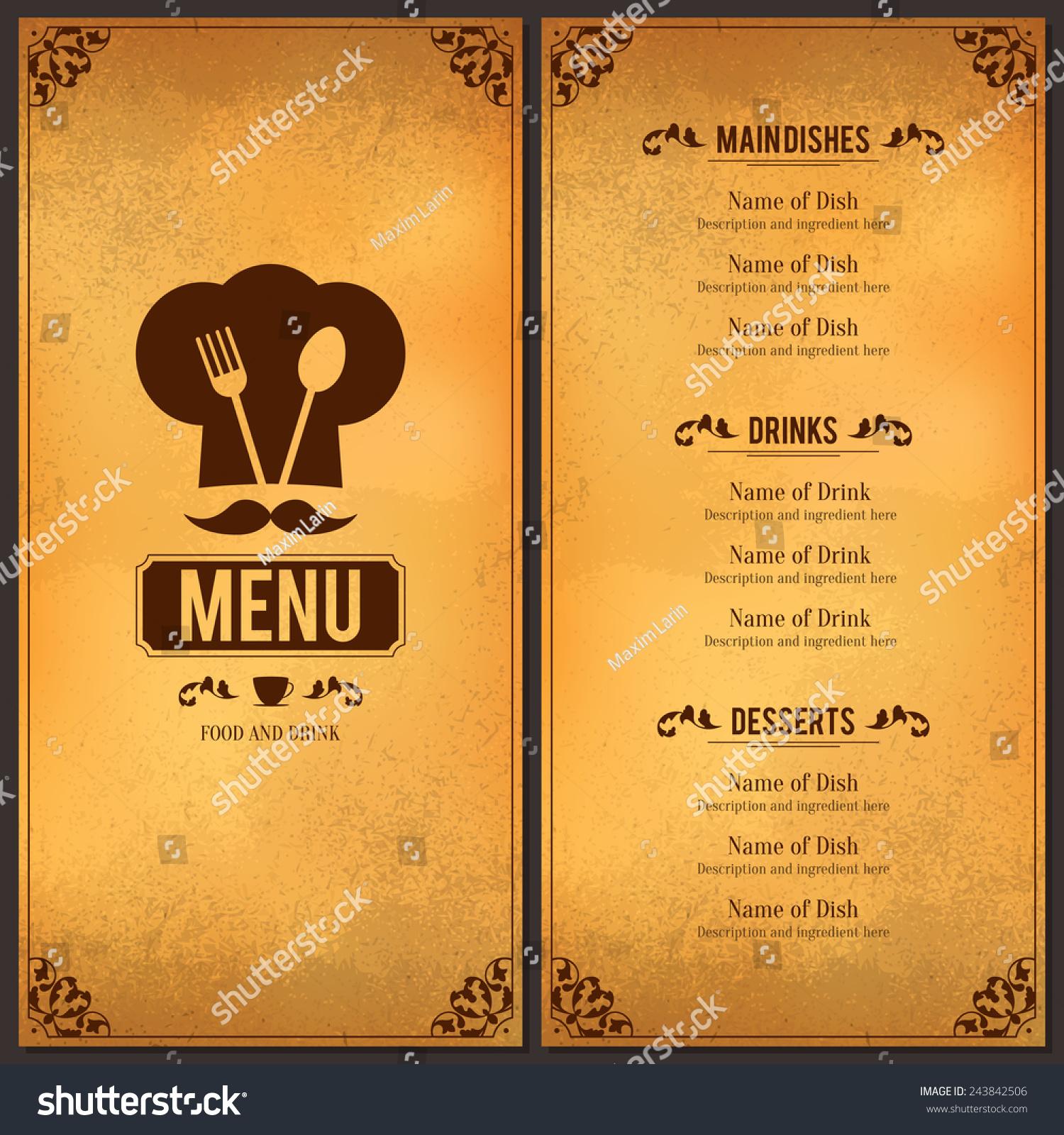 Restaurant Menu Design Vector Menu Brochure Stock Vector - Restaurant brochure template