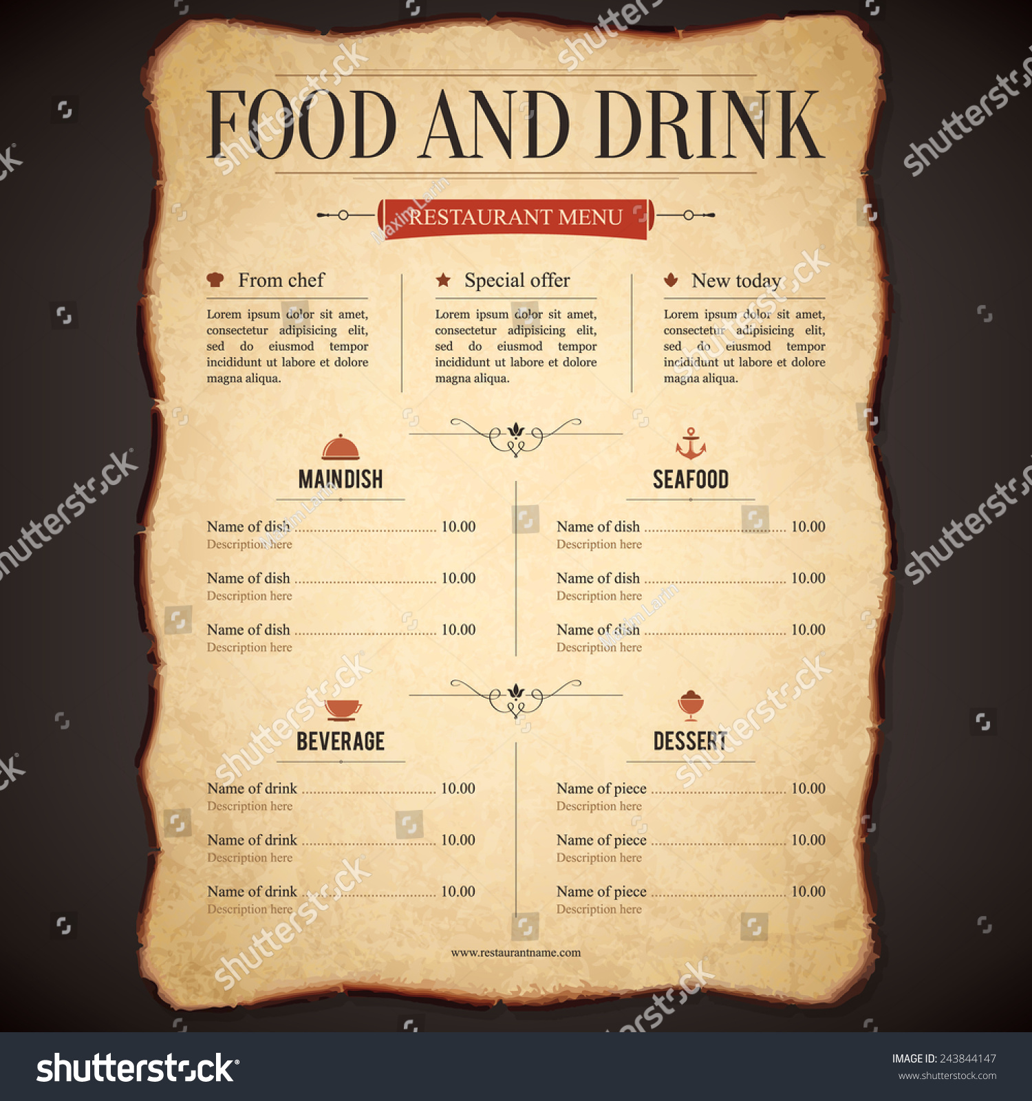 restaurant menu design vector menu brochure stock vector 243844147 vector menu brochure template for cafe coffee house restaurant