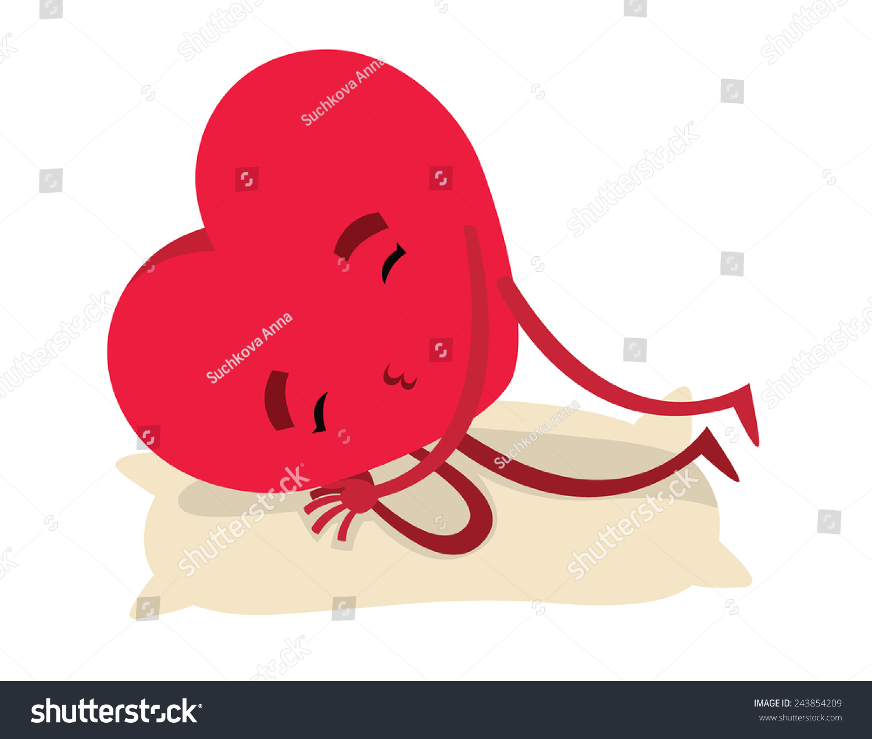red sleeping heart valentines day vector stock vector 243854209