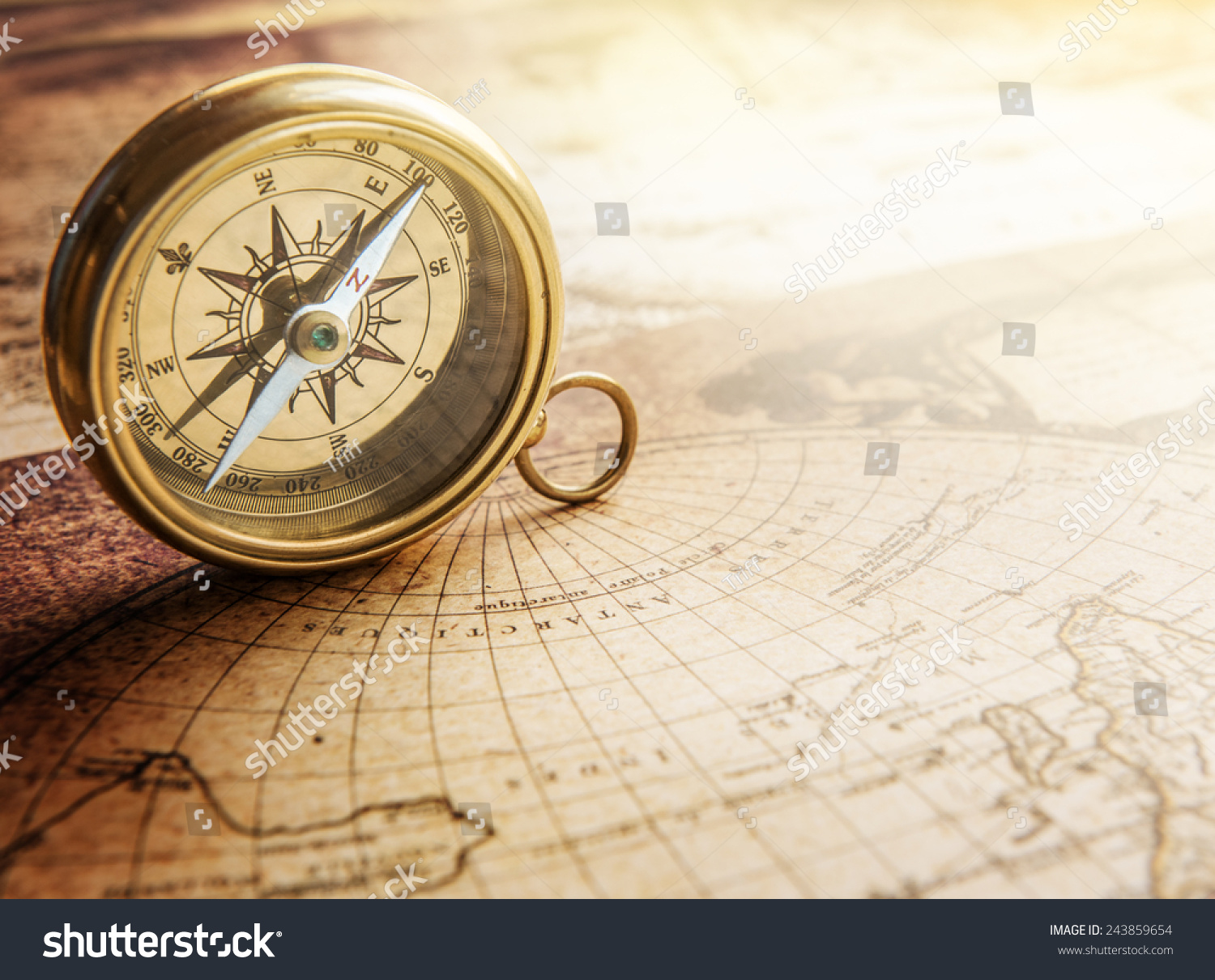 Old Compass On Vintage Map Retro Stock Photo 243859654