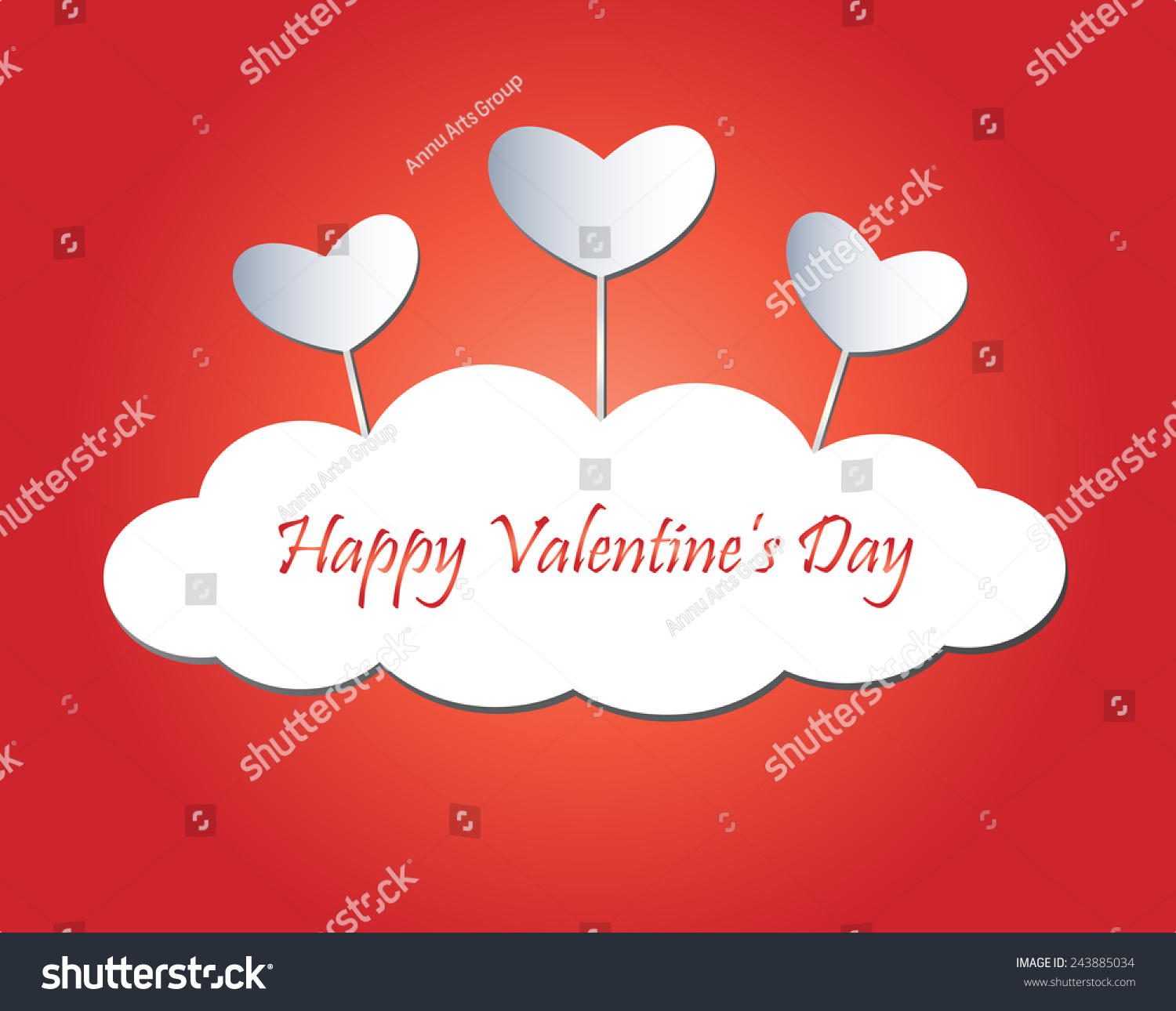 Happy Valentines Day Greeting Card Stock Vector 243885034 Shutterstock