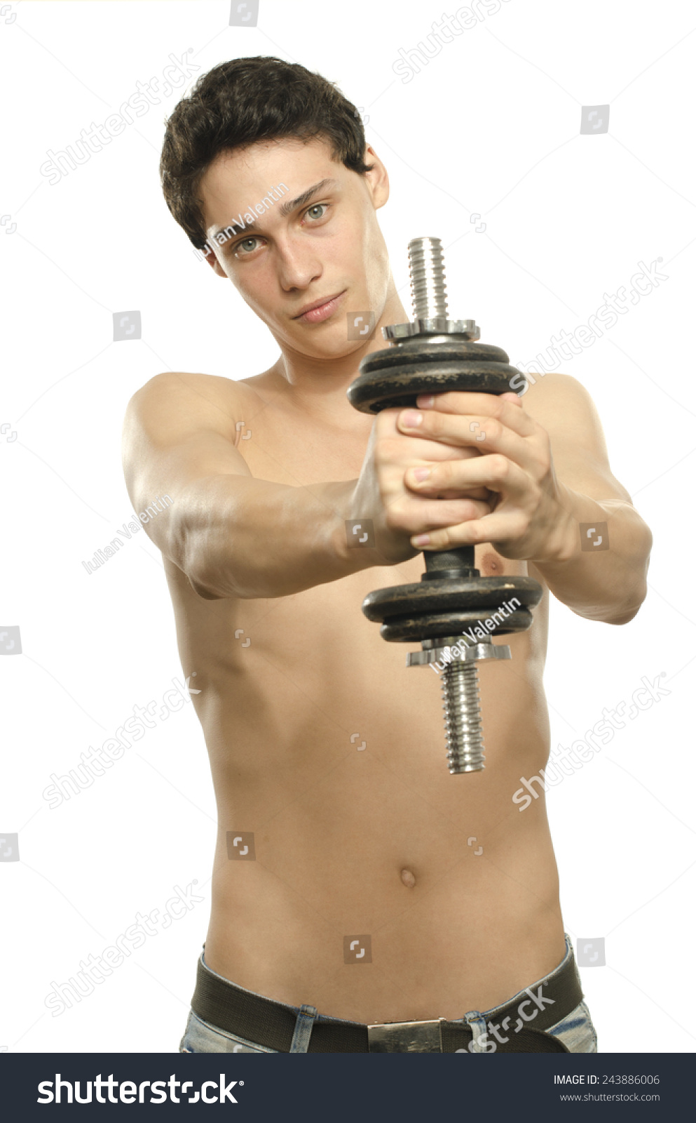 Skinny Man Training His Bicep Muscle Stock Photo Edit Now