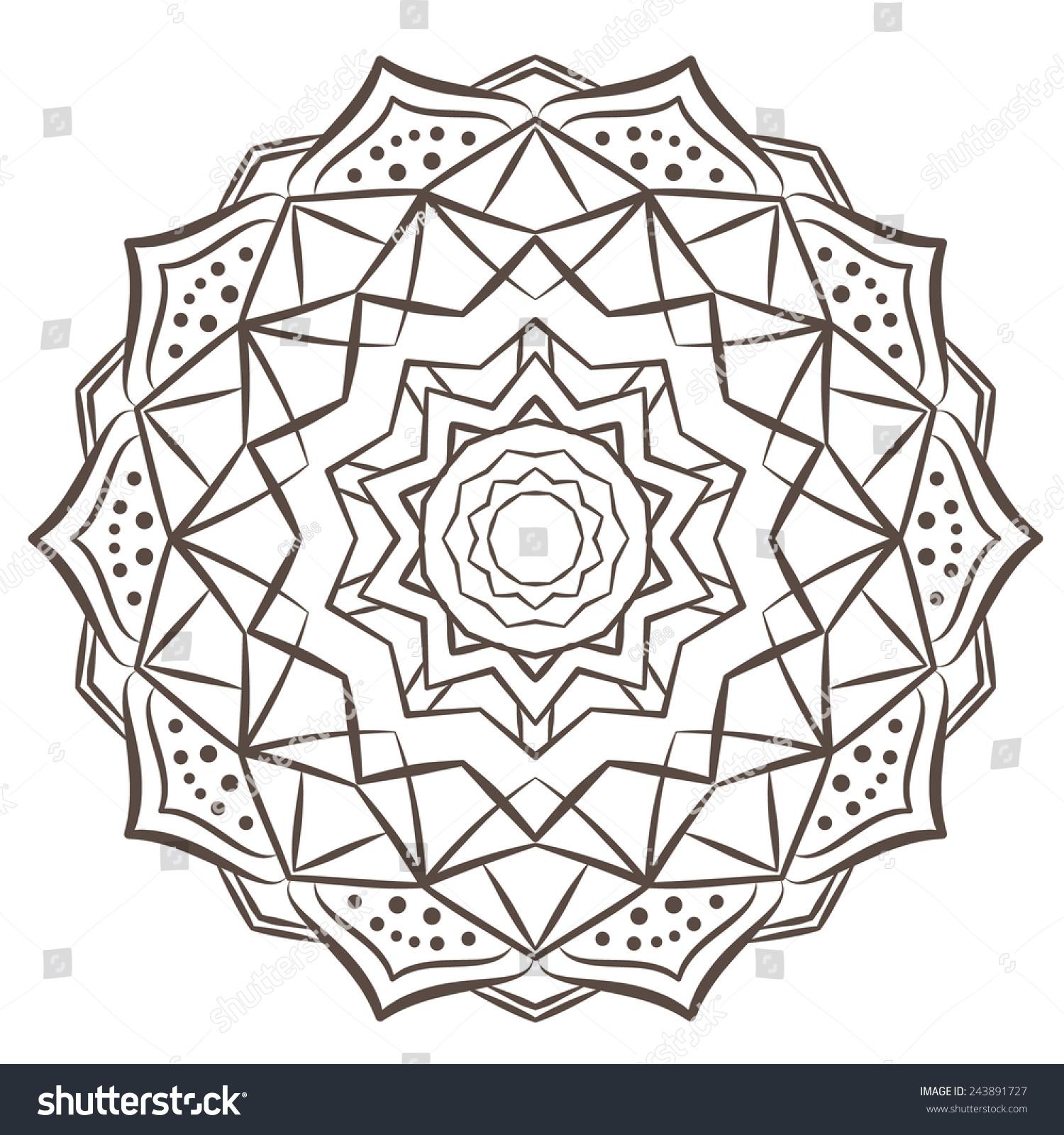 Ethnic Fractal Mandala Vector Meditation Tattoo Stock Vector ...