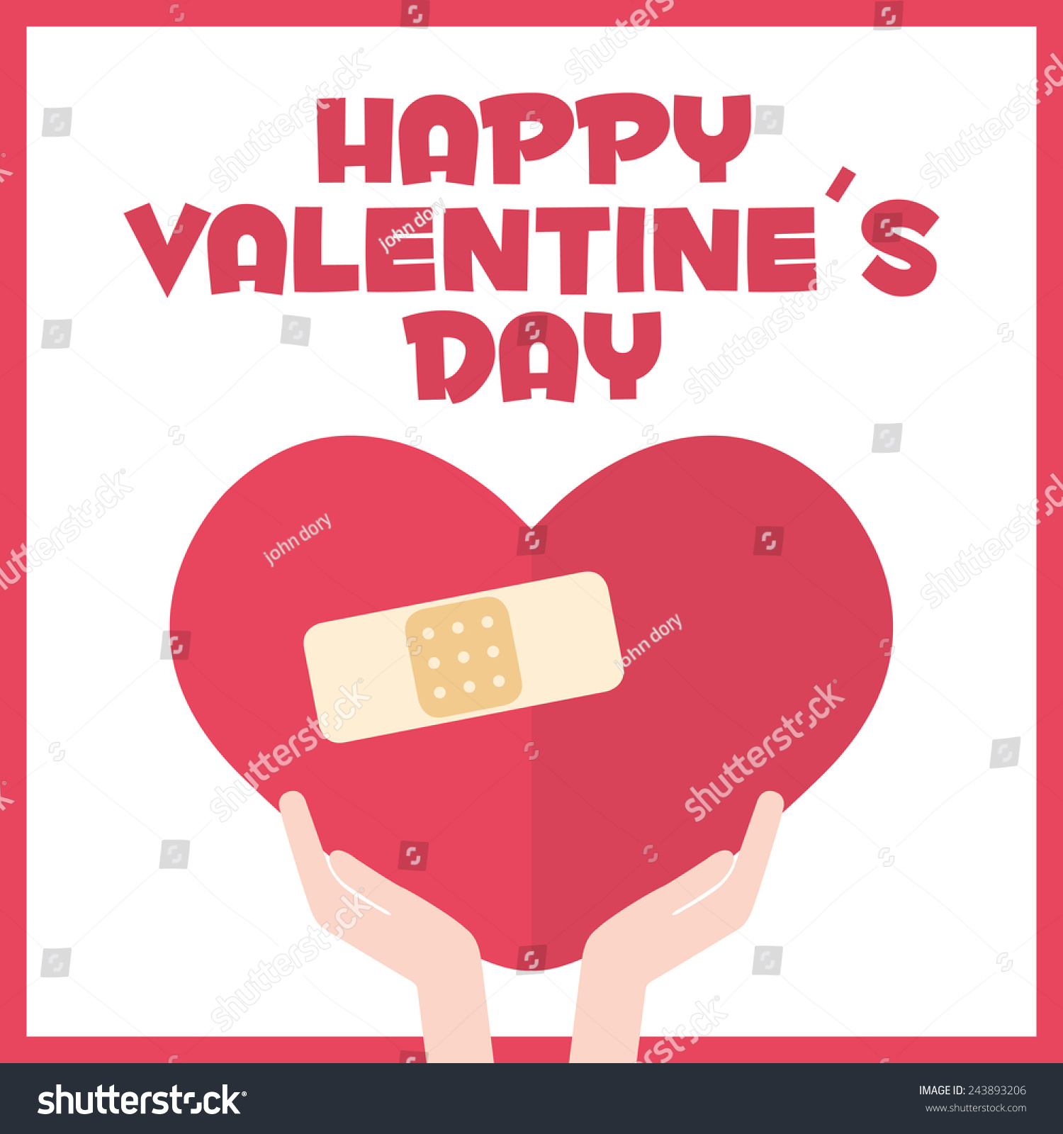 Happy Valentines Day Card. Heart With Band Aid
