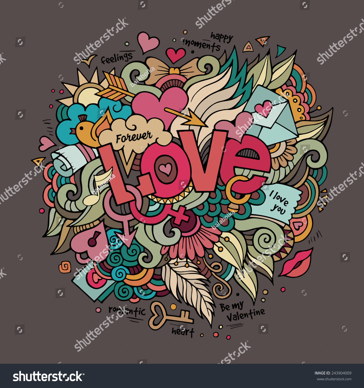 Stock vector music hand lettering and doodles elements - Love Hand Lettering And Doodles Elements Vector Illustration