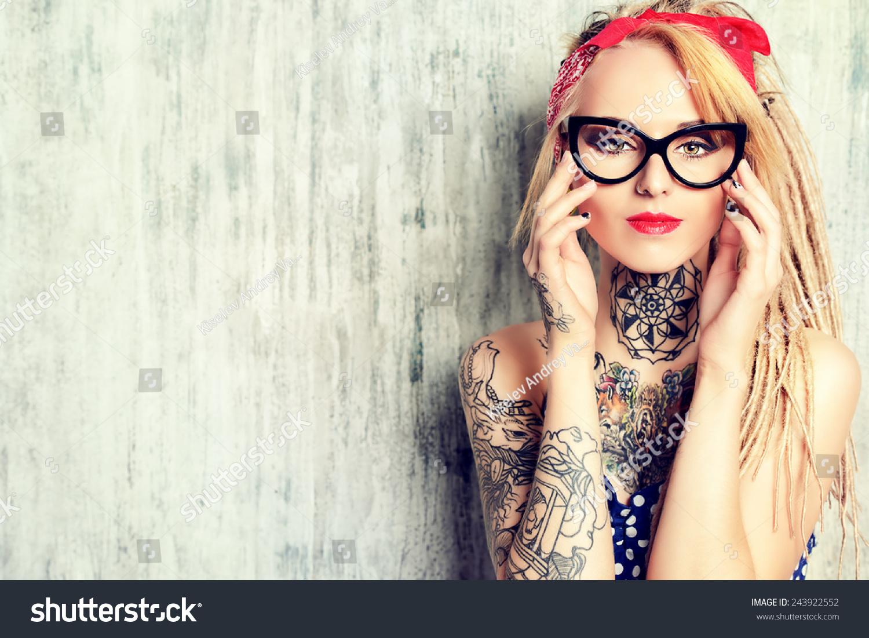 Closeup Portrait Modern Pinup Girl Wearing Stock Photo ...