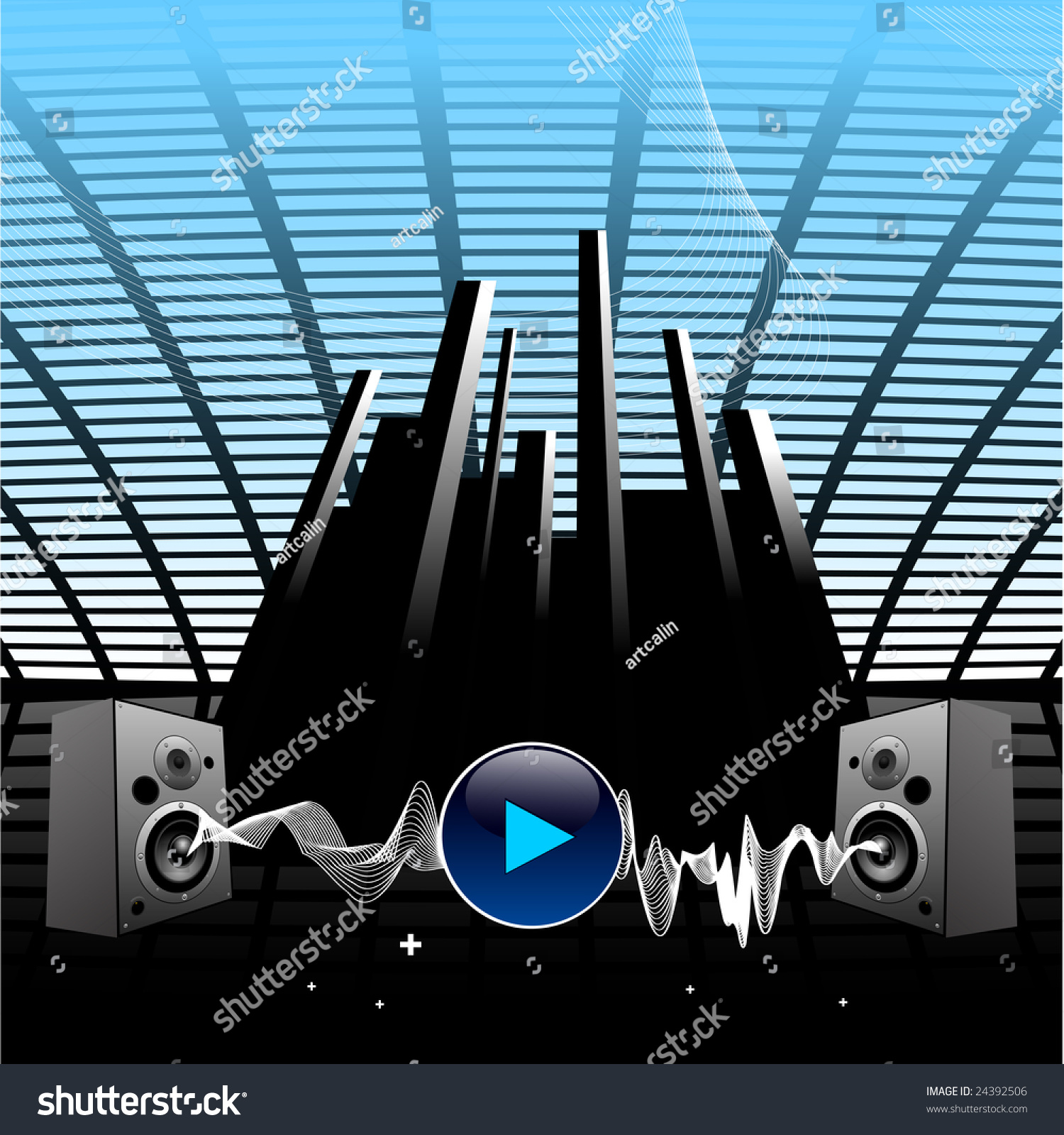 HI tech vector music wallpaper with sound waves. Audio speakers, blue  colors.