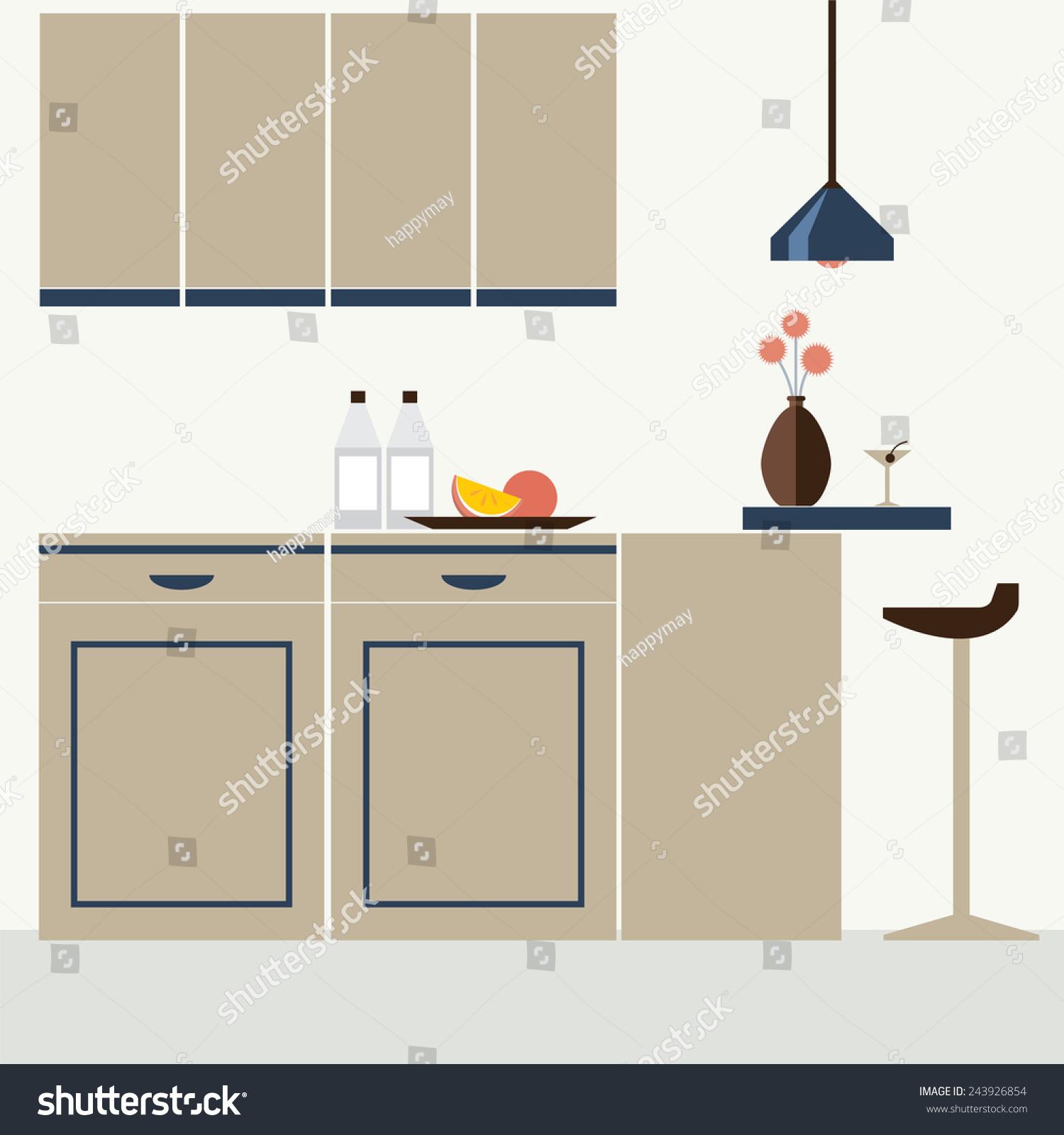 Modern Flat Design Kitchen Interior Vector Illustration 243926854 Shutterstock