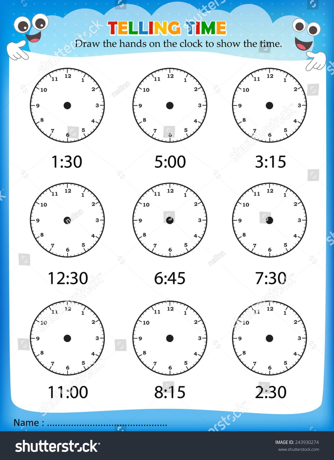 telling time worksheet pre school kids stock vector 243930274 shutterstock. Black Bedroom Furniture Sets. Home Design Ideas