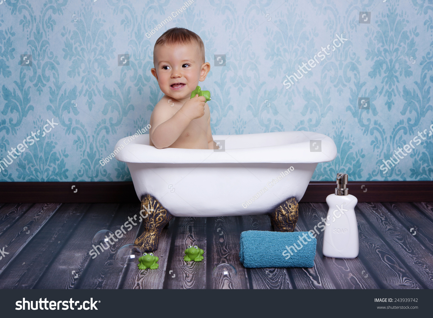 Beautiful Baby Boy Bath Tub Frog Stock Photo (Safe to Use) 243939742 ...