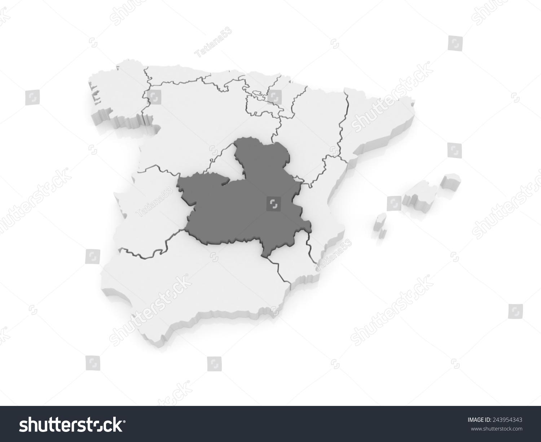 Map Of Spain La Mancha.Royalty Free Stock Illustration Of Map Castilla La Mancha Spain 3 D
