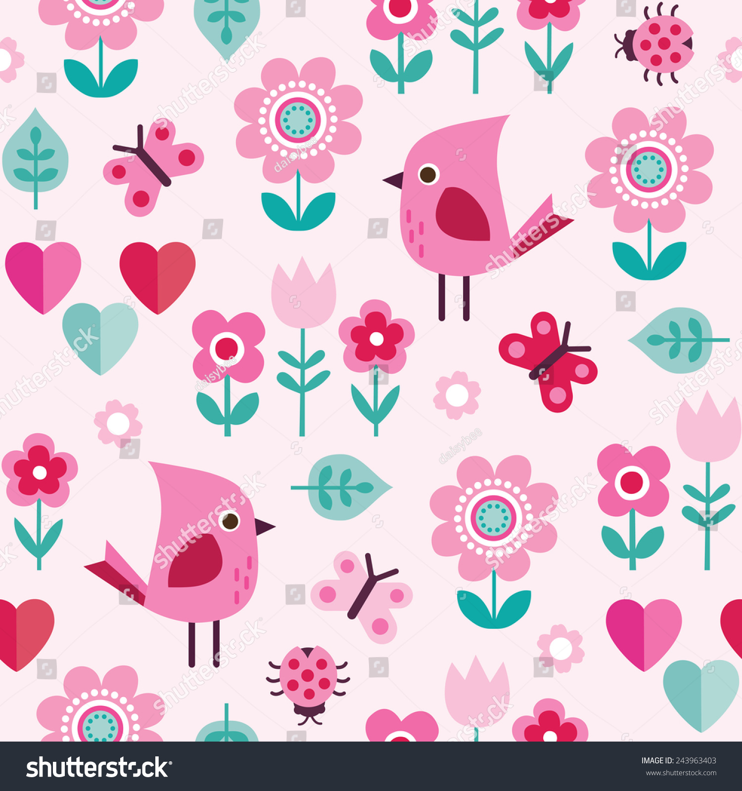 cute pretty seamless background pattern girls stock vector, Beautiful flower