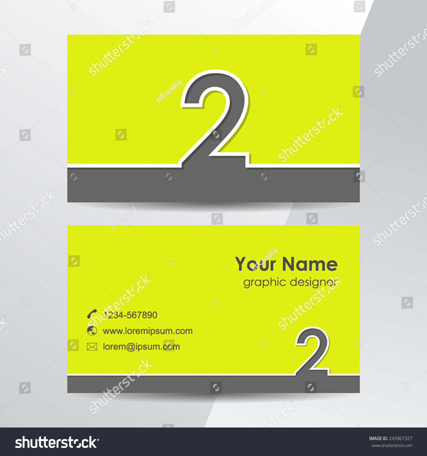Business cards template number 2 vector stock vector 243967327 business cards template with number 2 vector flat design pronofoot35fo Gallery