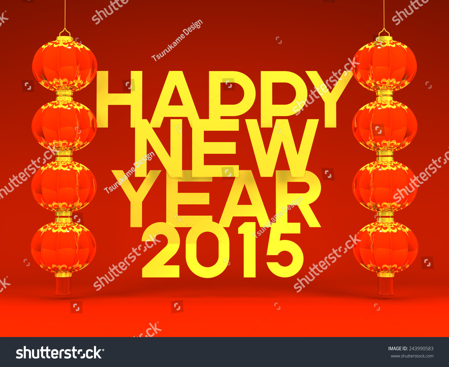 Lunar new years lanterns 2015 greeting stock illustration 243990583 lunar new years lanterns 2015 greeting on red background 3d render illustration for new kristyandbryce Choice Image