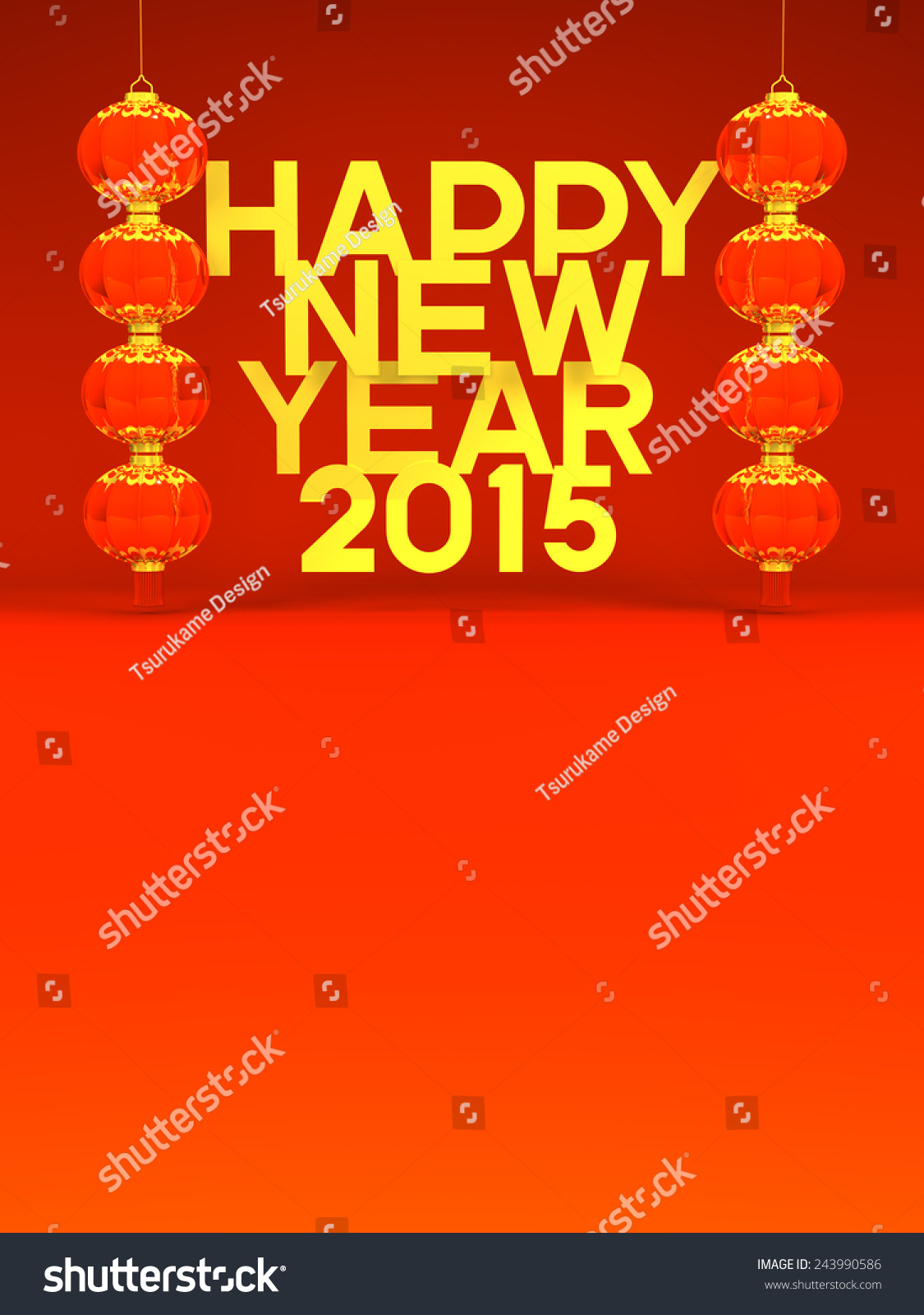 Lunar new years lanterns 2015 greeting stock illustration 243990586 lunar new years lanterns 2015 greeting on red text space 3d render illustration for kristyandbryce Choice Image