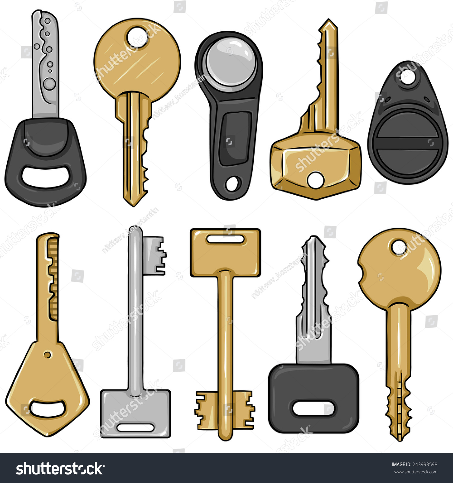 vector set cartoon modern keys type stock vector royalty free