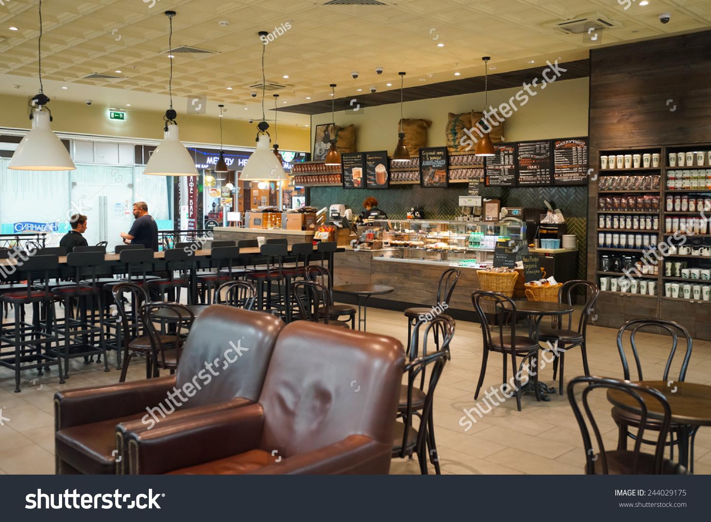 MOSCOW SEP 24 Starbucks Cafe Interior Stockfoto (Lizenzfrei ...