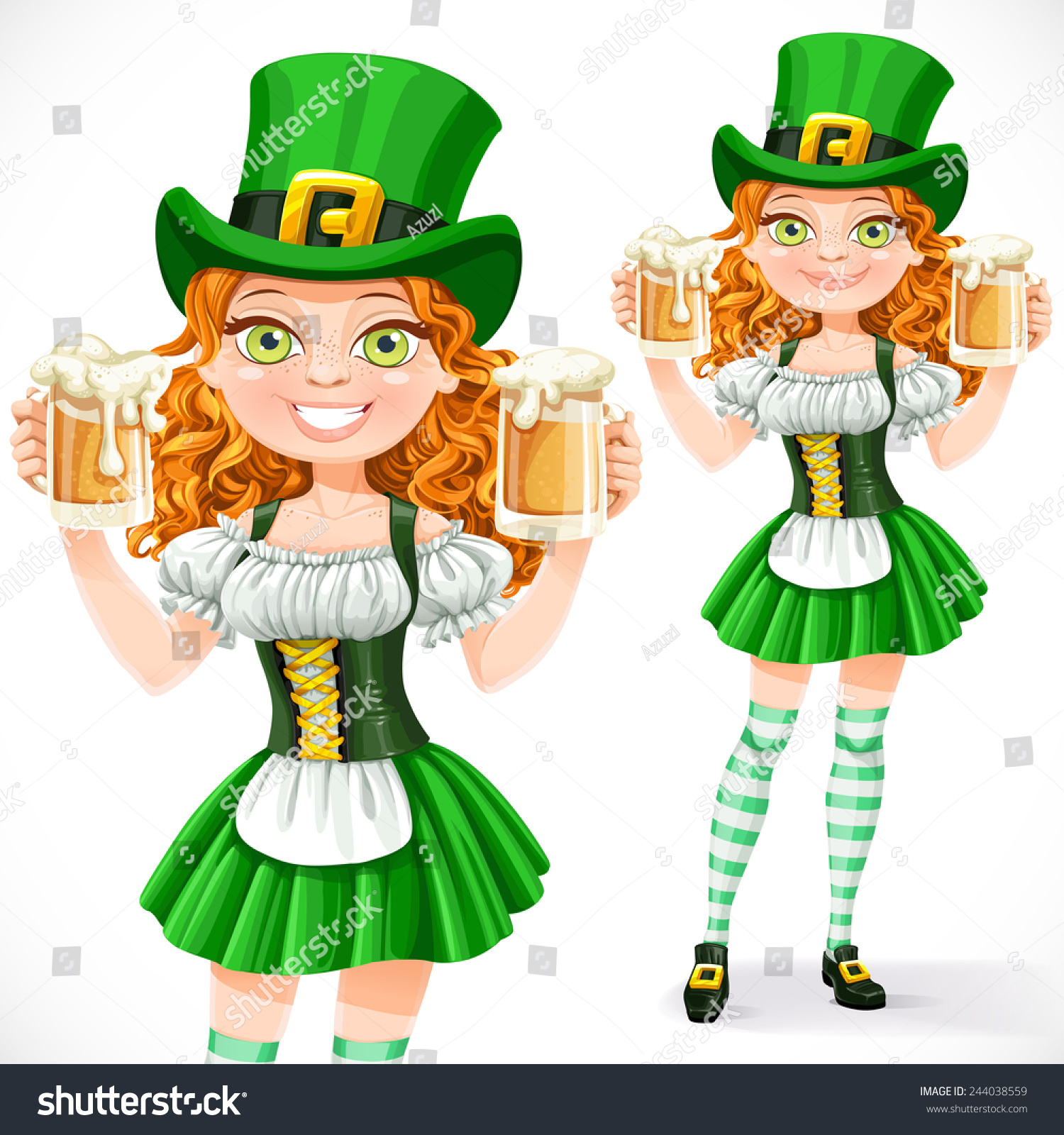 beautiful leprechaun hold two goblets stock vector 244038559
