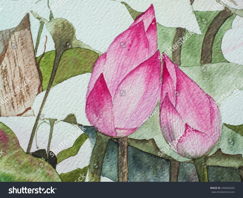 Original Watercolor Painting Pink Lotus Flower Stock Illustration