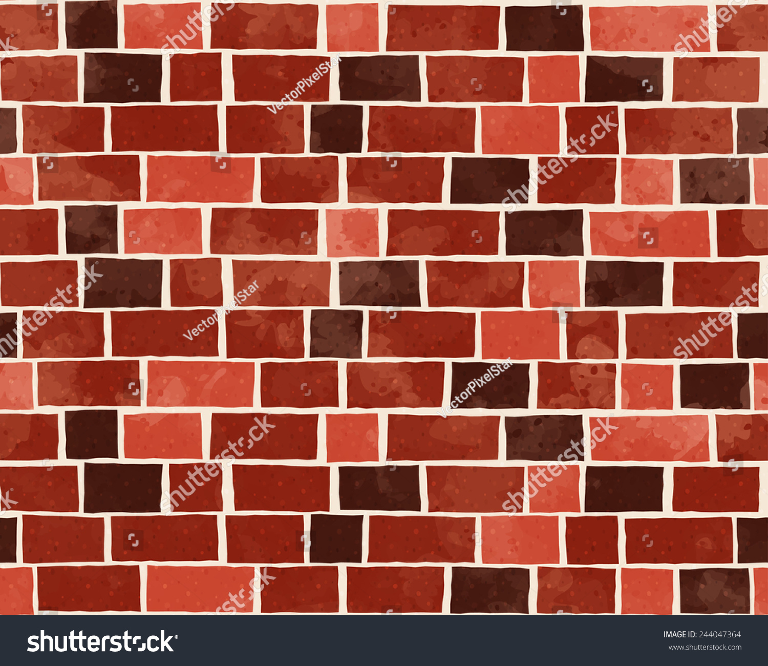 Red Brick Wall Textured Pattern Background Stock Vector
