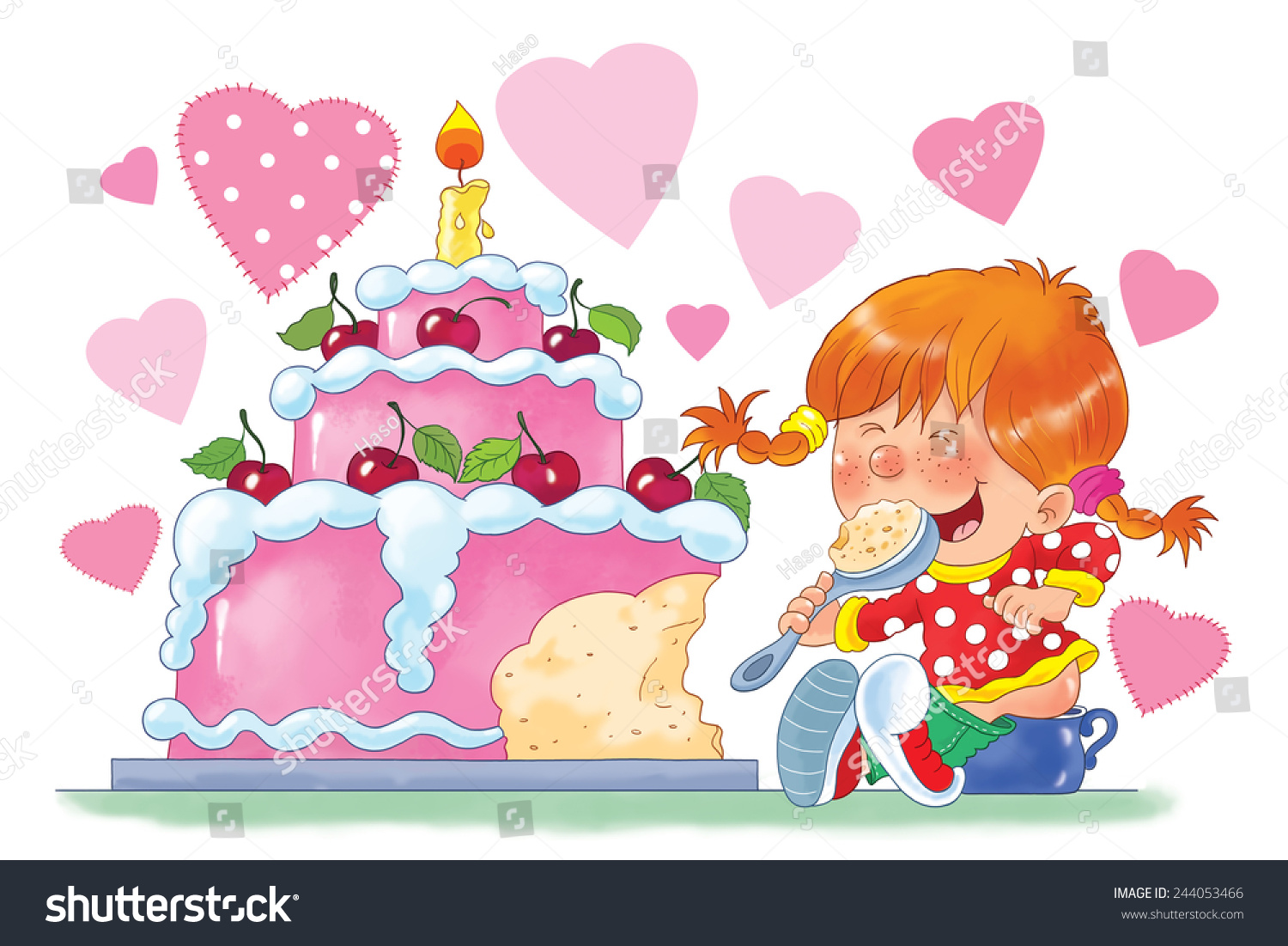 Birthday greeting card little girl sitting stock illustration birthday greeting card little girl sitting on the pot eating her birthday cake kristyandbryce Image collections